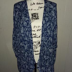 Forever 21 Blue & White Kimono Coverup Size OS